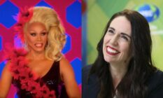 Side by side of Drag Race host RuPaul and New Zealand prime minister Jacinda Ardern
