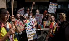 LGBT+ demonstrators march during annual Pride parade in Budapest, Hungary