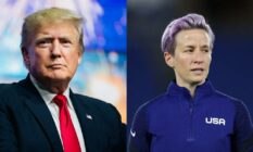 Side by side image of Donald Trump and Megan Rapinoe