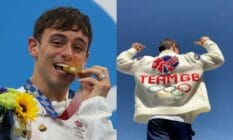side by side photos of Tom Daley one with his gold medal and another with his hand-knitted cardigan