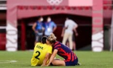Team USA's Kristie Mewis Sam Kerr Australia after the Olympic football bronze medal match LGBT+ couple