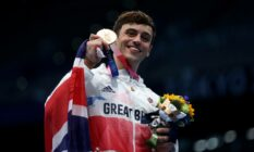 Team GB's Tom Daley poses with bronze medal at the Tokyo 2020 Olympic Games