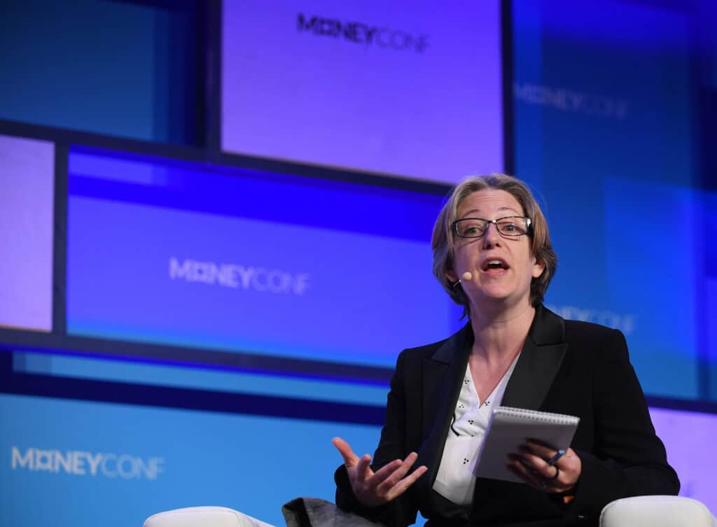 Helen Joyce on Centre Stage during day two of MoneyConf 2018 at the RDS Arena in Dublin