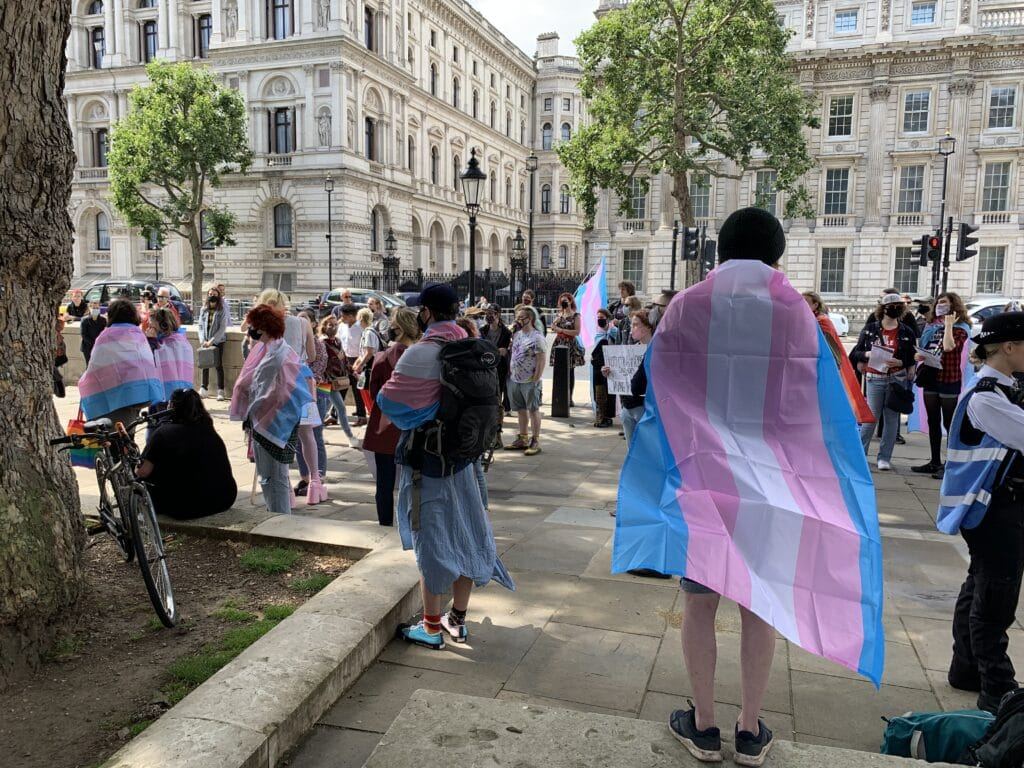 Trans rights protest outside Downing Street.