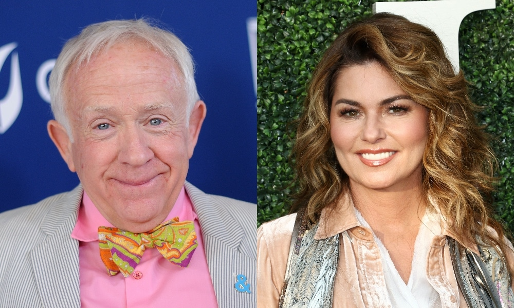 On the left: Headshot of Leslie Jordan smiling in a bow tie. On the right: Shania Twain poses on the red carpet
