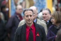 Peter Tatchell arrives at St Margaret's Church to attend the funeral for Tony Benn on March 27, 2014 in London, England.