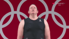 Laurel Hubbard competes at the 2021 Olympics