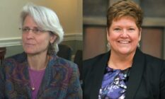 Side by side of Biden's LGBT judicial nominees Beth Robinson and Charlotte Sweeney