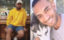 Valor Christian High School volleyball coach Inoke Tonga poses at a piano and poses with a dog in a second photo