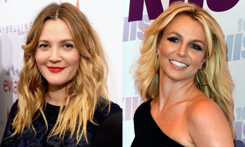 On the left: Headshot of Drew Barrymore. On the right: Headshot of Britney Spears