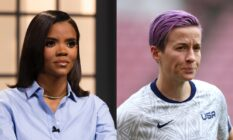 On the left: Candace Owens in a blue shirt. On the right: Megan Rapinoe on the football pitch.