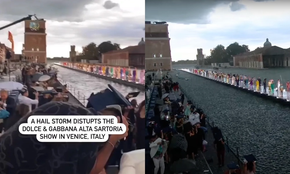 Side-by-side of the Dolce & Gabbana runway as a hailstorm begun