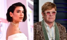 On the left: Dua Lipa on the recd carpet turning to the side. On the right: Elton John on the red carpet in a bedazzled blazer