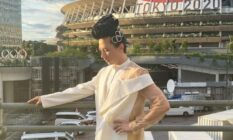 Johnny Weir outside the Tokyo Olympic stadium