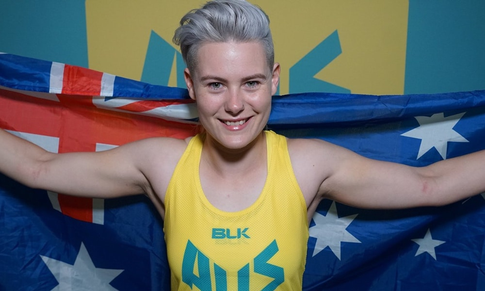 Robyn Lambird poses with an Australian flag