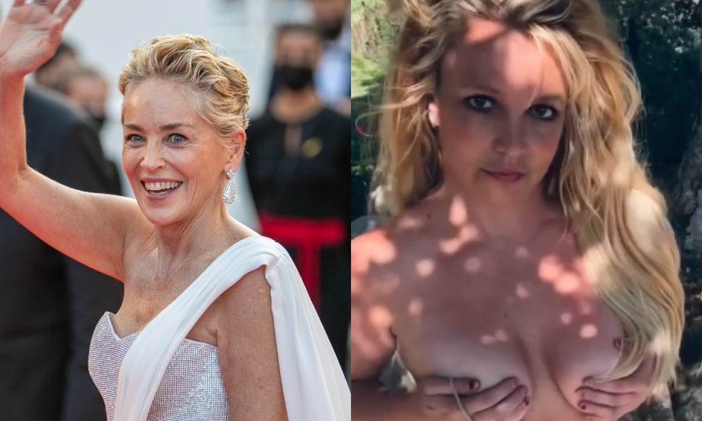 Sharon Stone waving / Britney Spears cupping her boobs