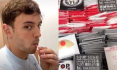 On the left: Tom Daley sucking on a lolly. On the right: A box of condoms
