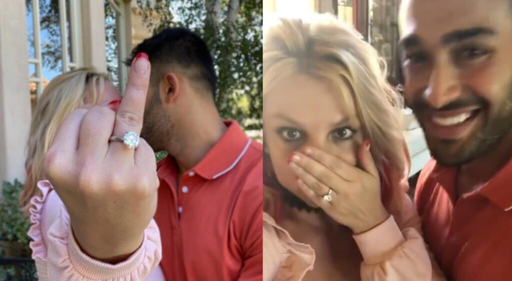 Britney Spears holds up her engagement ring for a picture with fiancé Sam Asghari