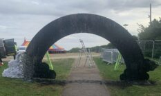 the scorched remains of the Milton Keynes Pride rainbow arch
