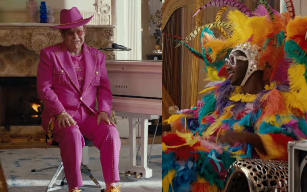 Elton John sporting an outfit inspired by Lil Nas X's Grammys 2020 look and Lil Nas X wearing an outfit inspired by Elton John's The Muppet Show appearance in a new Uber Eats advert