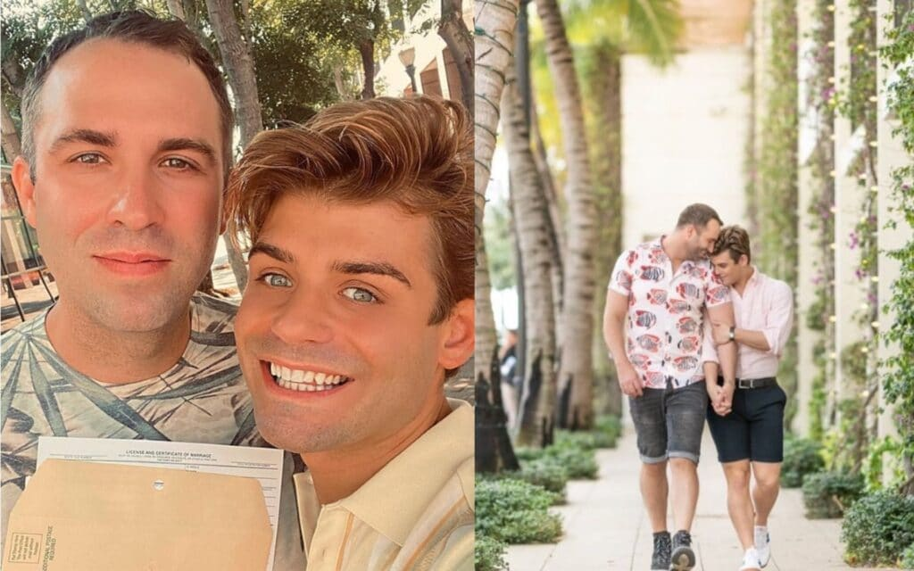 Blake Knight and Garrett Clayton pose for photos together