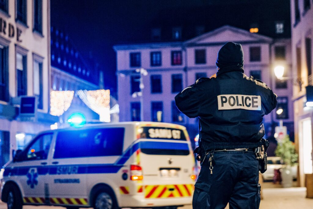 Police and emergency services intervene on Place Gutenberg