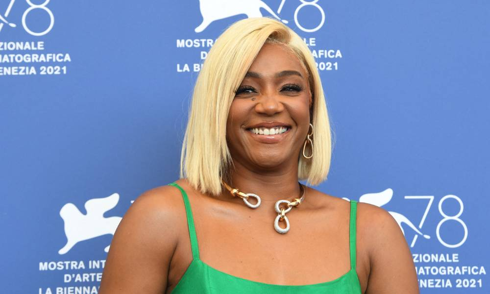 """Tiffany Haddish attends a photocall for the film """"The Card Counter"""" presented in competition during the Venice Film Festival in a gorgeous green dress"""