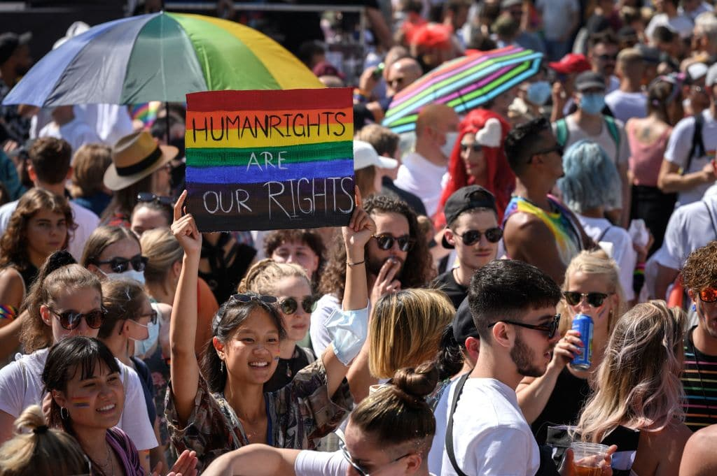 LGBT+ people march for equal marriage in Zurich, Switzerland.