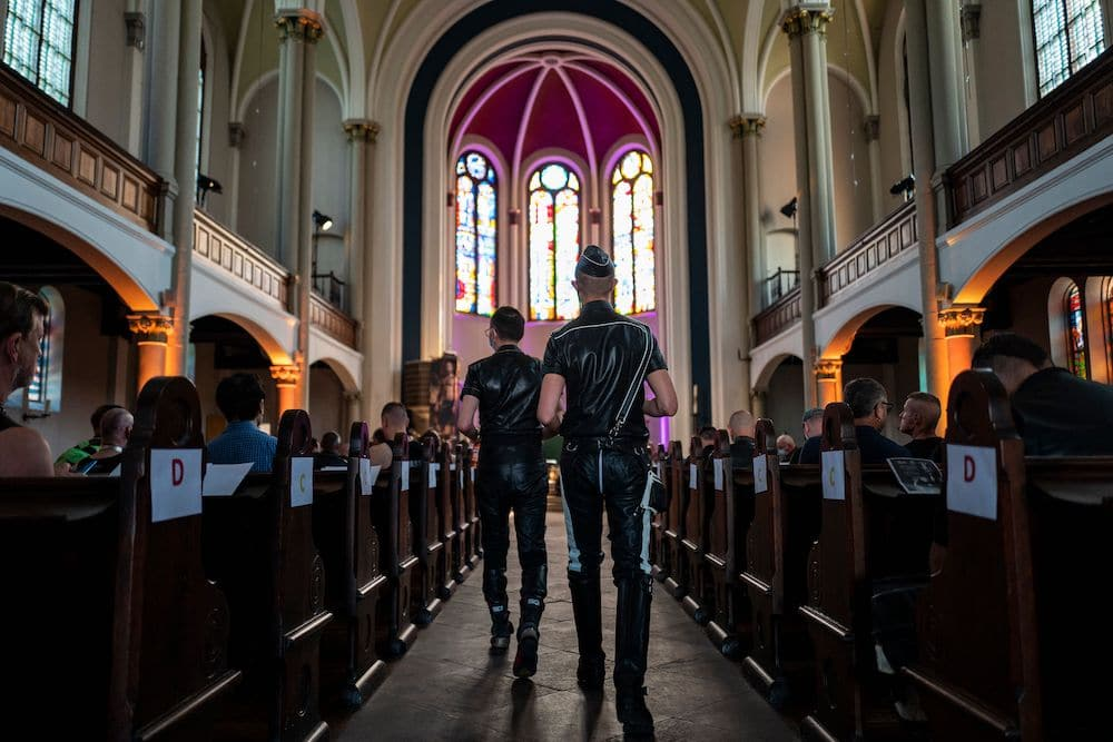 Guests attend the leather mass at a church in Berlin