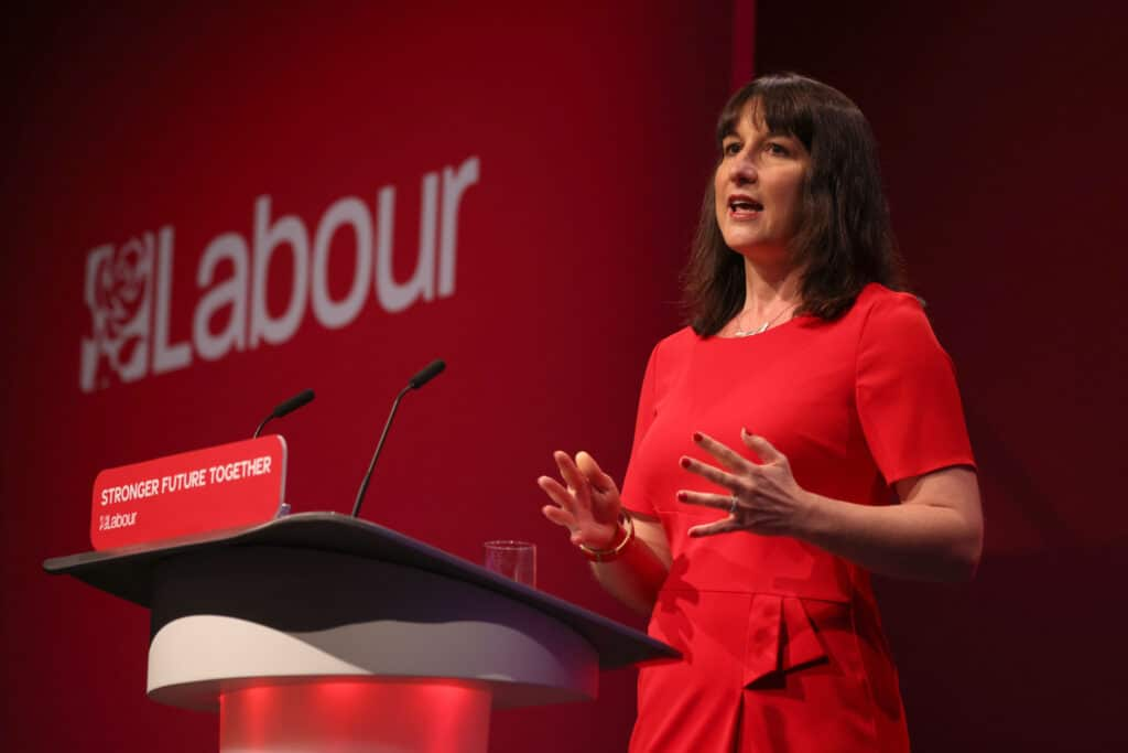 Shadow chancellor Rachel Reeves speaks during day three of the Labour Party conference