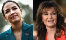 Side by side image of Alexandra Ocasio-Cortez (AOC) and Sarah Palin