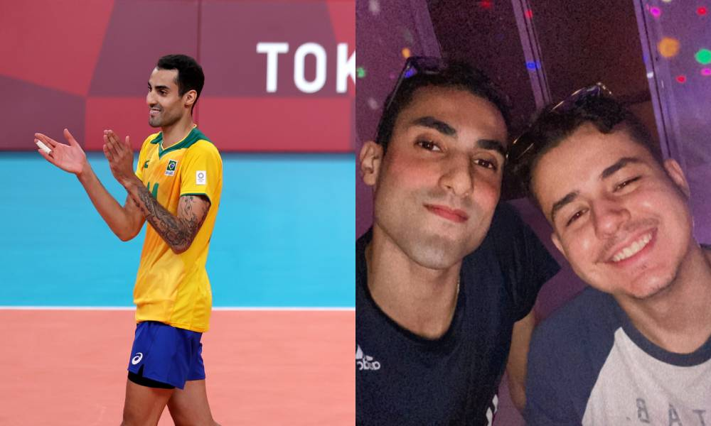 Images of Brazilian Olympic champion and volleyball star Douglas Souza and his boyfriend Gabriel. Souza recently shared on Instagram that he and his boyfriend encountered a homophobic incident with airport staff