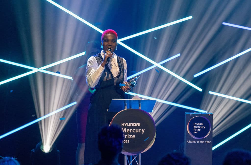 Arlo Parks giving a speech after winning the 2021 Mercury Prize