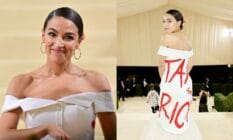 Alexandria Ocasio-Cortez departs the 2021 Met Gala in a gorgeous white gown with the words 'tax the rich' written on the back in red