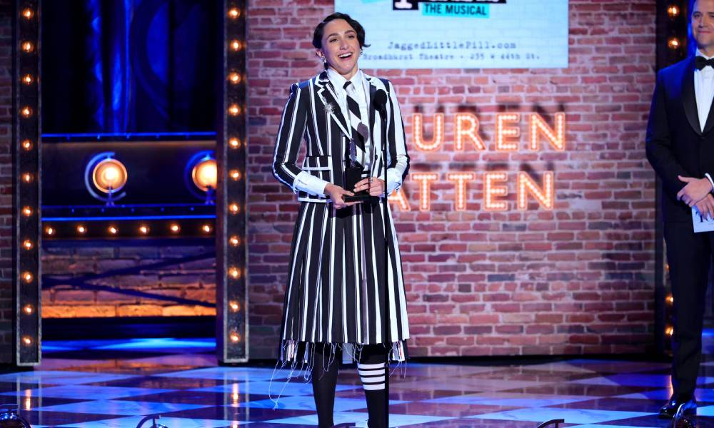 """Lauren Patten accepts the award for Best Performance by an Actress in a Featured Role in a Musical for """"Jagged Little Pill"""""""