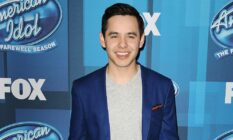 """David Archuleta attends FOX's """"American Idol"""" finale for the farewell season at Dolby Theatre in a blue suit jacket and grey shirt"""