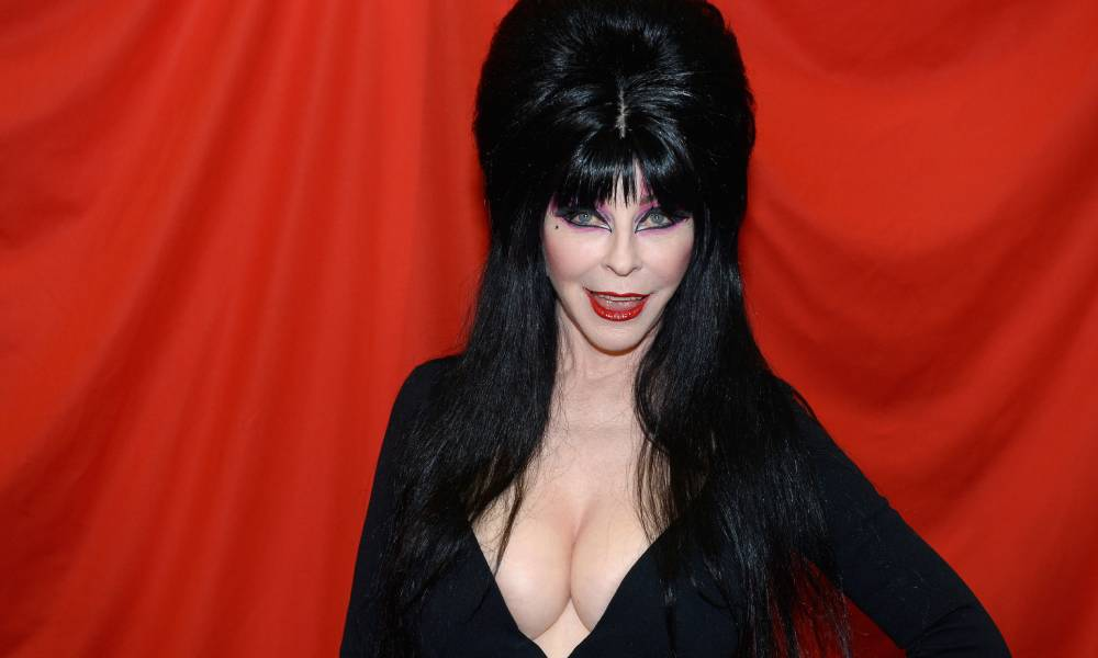 Picture of Elvira in full makeup and her trademark black dress with a blood red background