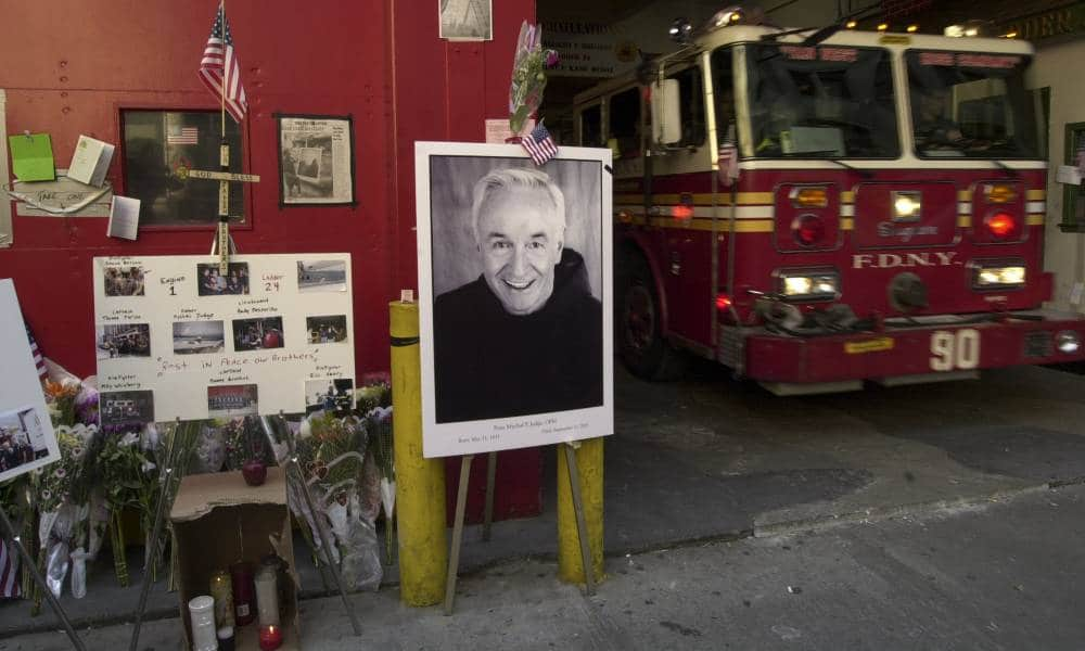 Mychal Judge is part of a memorial to victims of the World Trade Center attack outside of Engine Co. One/Ladder Co. 24 in midtown Manhattan