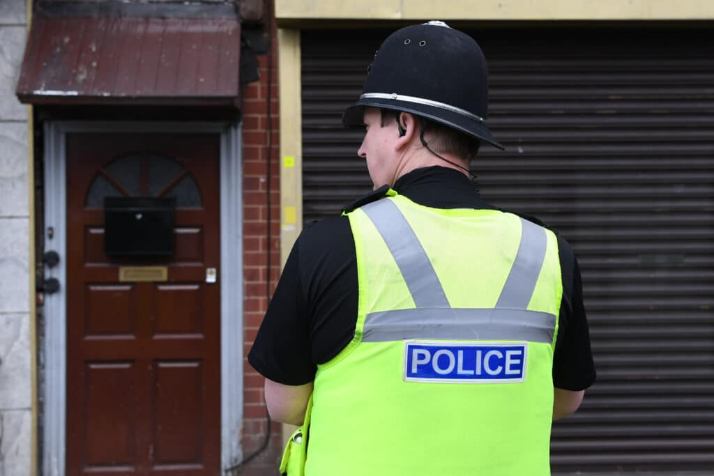 A police officer stands in Birmingham
