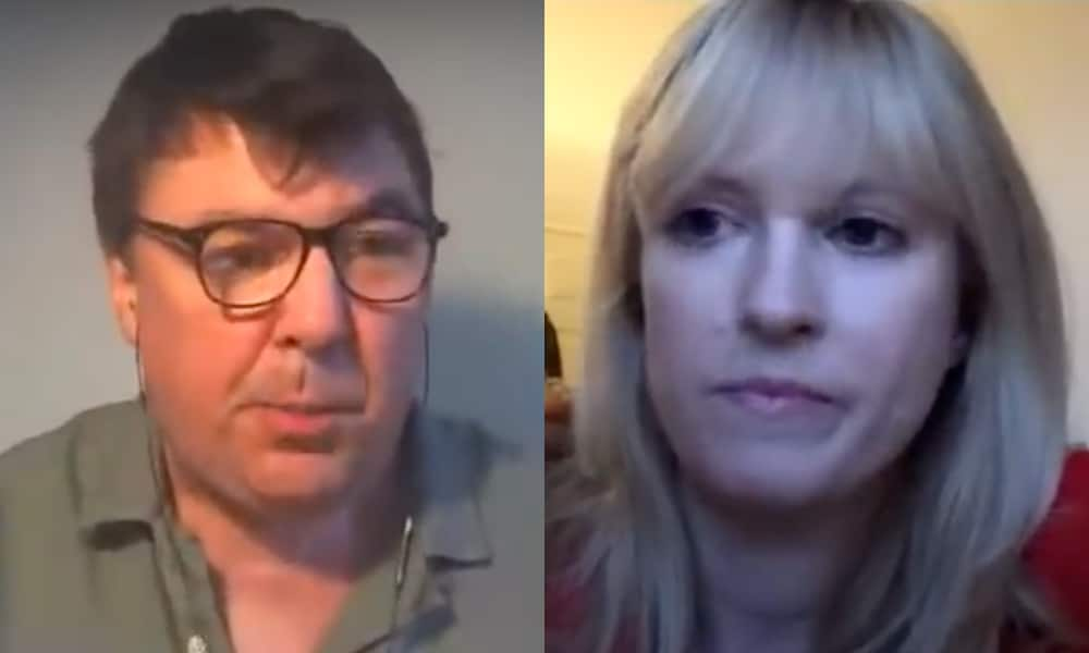 Graham Linehan (left) with Labour MP Rosie Duffield (right), on his YouTube podcast