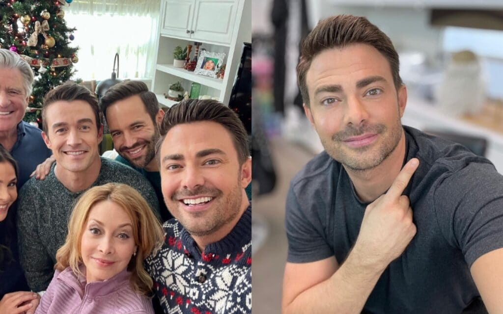 Jonathan Bennett on the set of The Christmas House 2 with the rest of the film's cast