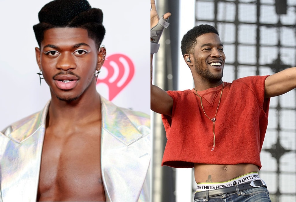 Lil Nas X posing on the red carpet and Kid Cudi performing on stage