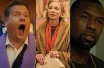 James Corden in The Prom (L), Cate Blanchett in Carol (C) and Trevante Rhodes in Moonlight.