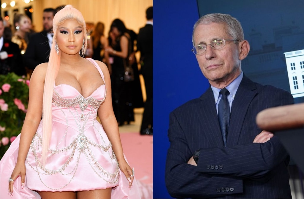 Nicki Minaj at the Met Gala in 2019 and Anthony Fauci at a White House press briefing