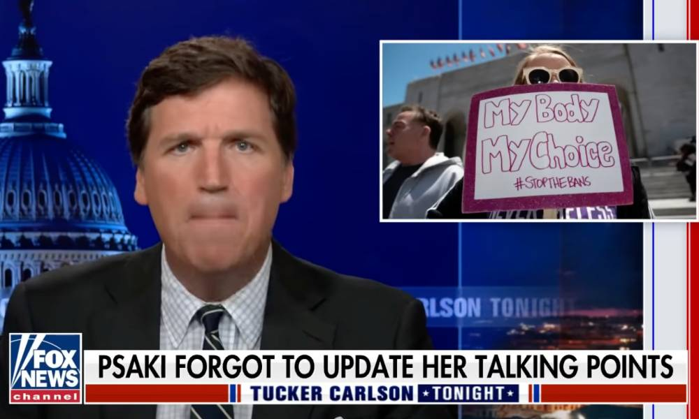 Tucker Carlson launched into a vile rant mocking trans people and pro-abortion advocates
