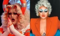A side by side image Drag Race UK winner Lawrence Chaney and series three contestant Victoria Scone in beautiful orange themed outfits