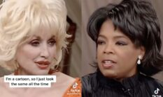 A side by side image of Dolly Parton and Oprah Winfrey from a TikTok video which included a snippet from a 2003 interview between the country music star and Oprah