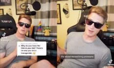 Jackary, also known as @jackary17 or the 'CEO of aggressive allies' on TikTok, appears in a video with sunglasses, a can of Miller Lite and a grey shirt to explain why pronouns are important