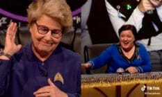 A side by side image of Sandi Toksvig and Susan Calman from the British comedy panel show 'QI'