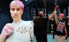 Side by side images of trailblazing trans MMA fighter Alana McLaughlin after her debut win